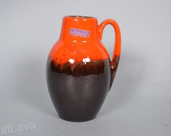 Scheurich orange / brown West German pottery vase  414-16