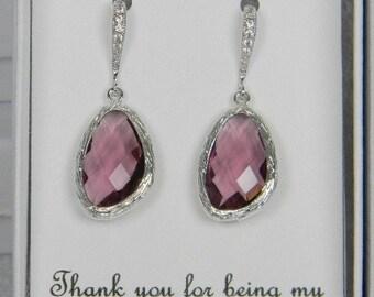 Plum Purple / Silver Bridesmaid CZ Earrings -Wedding Earrings - Plum Bridesmaids Earrings -Bridal Jewelry - Eggplant Purple CZ14