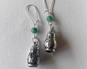 handmade silver matryoshka earrings. made in Ireland.