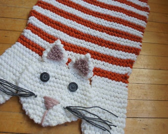 Hand Knit 28.5 Orange And White Cat Rug Mat Blanket Spread