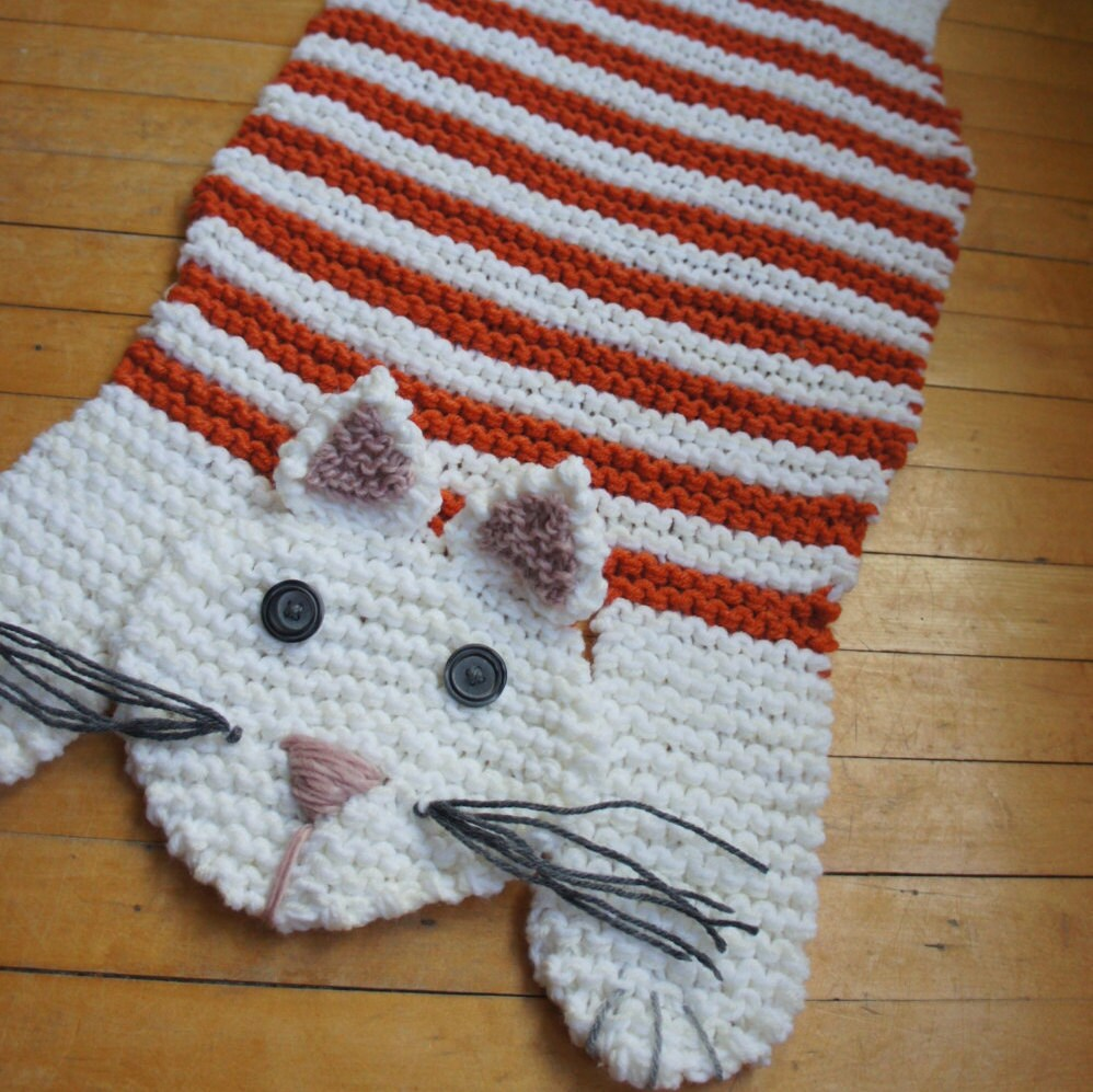 Hand Knit 28 5 Orange And White Cat Rug Mat Blanket Spread