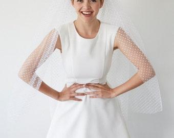 Bridal veil wedding fingertip length polka dots  - Paulette