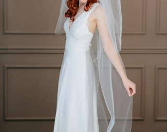 Wedding veil chapel length with blusher  - Ivy