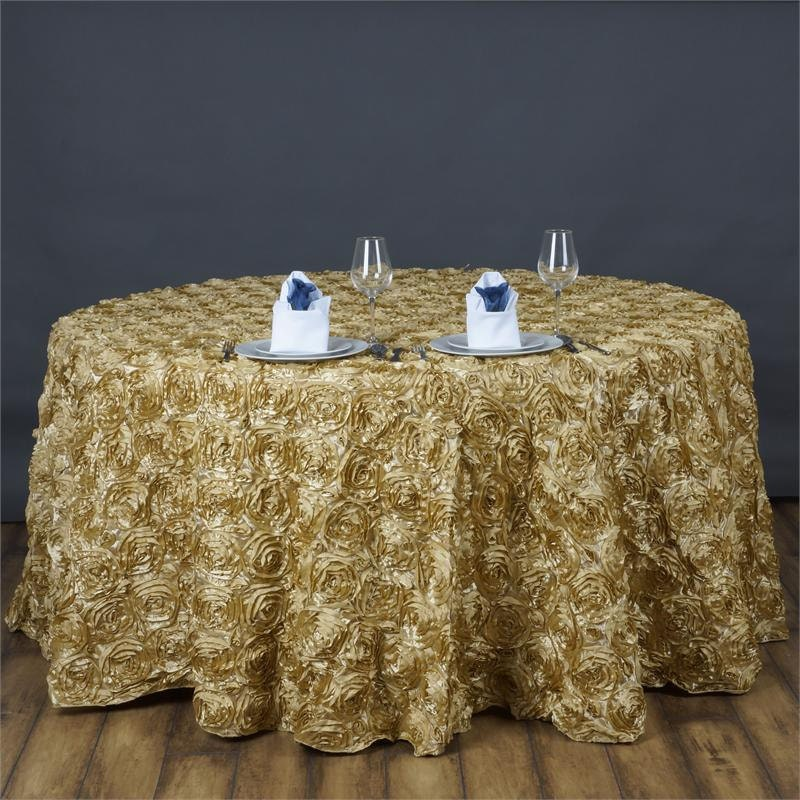 Light gold rosette table cover 120 or 132 round for 120 round table cover