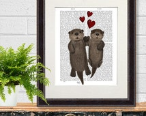 Otters in Love Otters holding hands - floating otters print otter wall art otter gift otter art print holding paws first anniversary gift UK