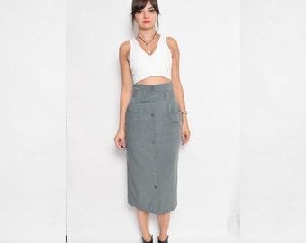 Vintage 90's Grey Button Skirt / High Waist Button Midi Skirt / Belted Grey Pencil Skirt - Size Small