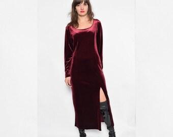 Vintage 90's Burgundy Velvet Maxi Dress / Front Slit Velvet Dress / Long Sleeve Velvet Dress - Size Large