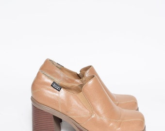 Vintage 90's Tan Brown Real Leather Chunky Heels Platform Shoes