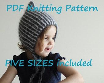 PDF KNITTING PATTERN, baby bonnet knitting pattern, brioche knitting pattern, pixie hat pattern, pixie bonnet pattern, two color bonnet pdf