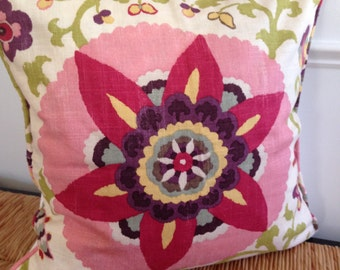 Pink Flower Pillow Cover 18 x 18 inch Pillow Cover Pink Purple Pillow Cover Floral Pillow Cover Teen Girl Room Decor Girl Pillow Cover