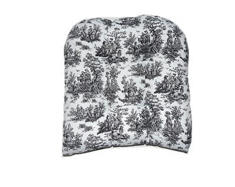 """Indoor / Outdoor 19"""" x 19"""" Universal Tufted Wicker Seat Chair Cushion - Black and White Jamestown Toile"""