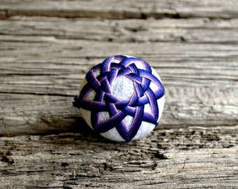 Blue and Purple Temari, Traditional Japanese Folk Craft Temari Ball Nightfall Japanese Temari Ball Woven Design Christmas Bauble Fiber Art