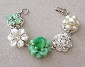 Mint Green, Bracelet, Vintage earring bracelet, pearl, rhinestone, silver, jewelry, bracelet, bridesmaid, wedding, vintage, mint, green
