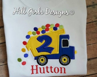 Boy's truck with balls shirt, embroidered name and birthday number included