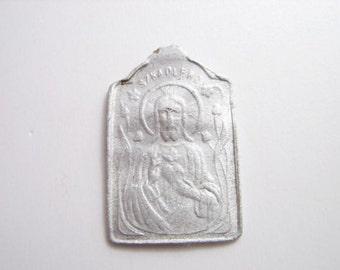 Jesus Religious Pendant Charm silver Jewelry Scapular Christian antique medals metal detector ooak