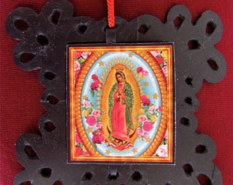 Recycled Virgin of Guadalupe Christmas tree ornament, Christmas ornament from recycled bike tire, Recycled bike tire Christmas decoration