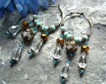 crystal chandelier   earring ,creole earring, bronze earring, gypsi earring, bohemian earring , boho chic earring, 3.5  inches earring