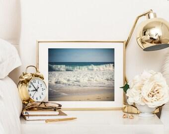 Beach printable, South Africa ocean waves, digital download, summer travel photography, fine art, Cape Point, sand, blue wall art home decor