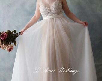 Romantic Peach Backless Boho Lace Wedding Dress Great for  Beach Wedding- AM 7896200