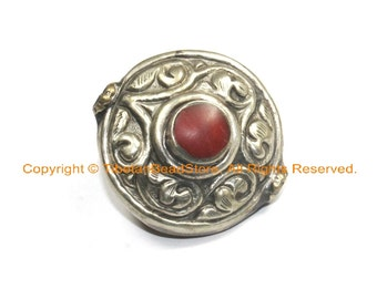AS IS LARGE Tibetan Two-Sided Brass & Tibetan Silver Repousse Round Bead with Turquoise, Coral Inlays - B3046-1