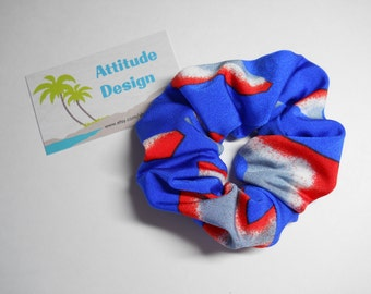 Scrunchie Bright Blue With Splashes Of Orange, Gray and White