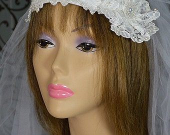 Vintage Gatsby-style White Bridal Wedding Cap & Two-tiered Veil/Headpiece