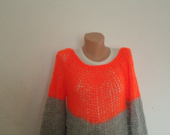 Neon orange and grey loose knit sweater / knit  oversized jumper / lace knit jumper /lace knit dropstitch top / drop stitch summer top