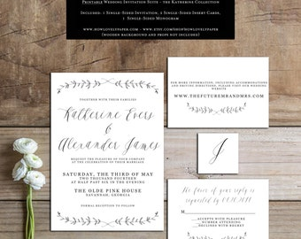 Printable Wedding Invitation Suite - the Katherine Collection