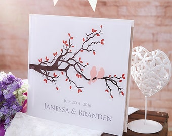 Wedding Tree Guest Book, Wedding Guest Book, Guest Book Tree, Personalized Guest Book Love Birds -Crystal Acrylic Guestbook-GB24