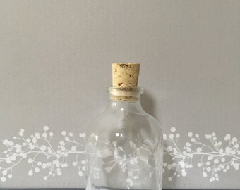 50  Miniature Glass Bottles with Cork top for Corporate Events Wedding Favours Funerals