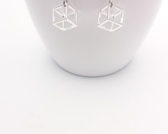 Silver Geometric Cube Earrings steel closures//Small Silver plated Cubes pendants 3D hypoallergenic//Silver square dangle minimal earrings