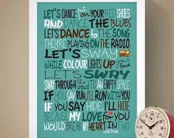David Bowie - Let's Dance Print, Song Lyrics Print, Music Poster, Music Lyrics, David Bowie Poster