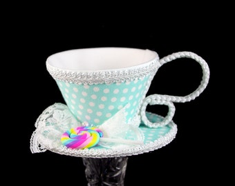 Mint Aqua and White Polka Dot with Pastel Swirl Lollipop Tea Cup Fascinator Hat, Alice in Wonderland Mad Hatter Tea Party, Derby Hat