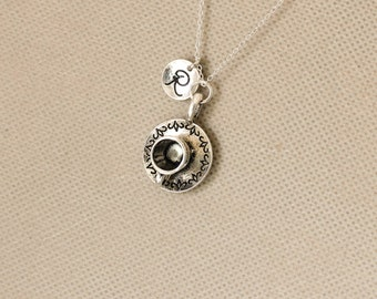 Coffee Cup Necklace. Personalized Initial Necklace. Tea Cup Necklace. Sterling Silvr Necklace. No.160