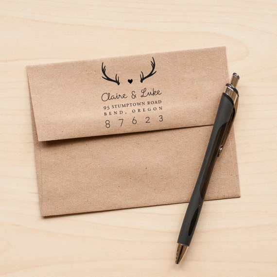 Personalized Return Address stamp Antlers Address Stamp Personalized Wedding stamp rustic wedding stamp wedding stationery eco rubber stamp