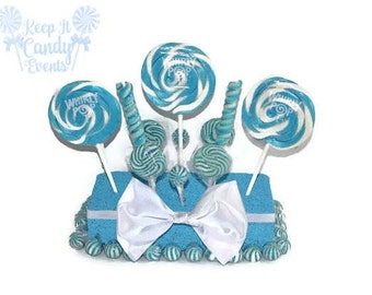 Light Blue Wedding Centerpiece, Blue Candy Centerpiece, Blue Lollipop Centerpiece, Blue Candy Buffet, Boy Baby Shower Centerpiece ideas