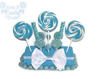 Light Blue Wedding Centerpiece, Blue Candy Centerpiece, Blue Lollipop Centerpiece, Blue Candy Buffet, Boy Baby Shower Centerpiece ideas