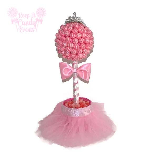 Pink princess lollipop baby shower topiary its a by