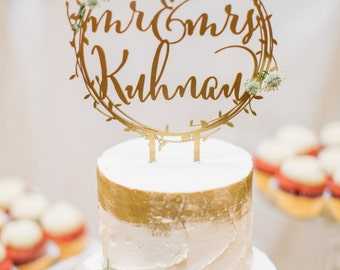 Laser Cut Rustic Mr. and Mrs. Gold Wreath Personalized Wedding Cake Topper - (ONE) Engagement Cake Topper - Traditional Cake Decoration