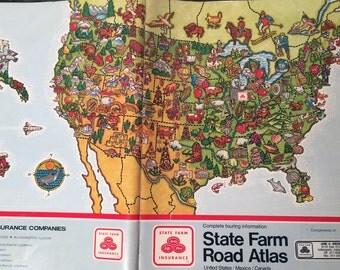 Road Atlas Vintage Maps Set of 2
