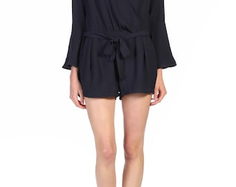 Navy Blue Crepe Combi-Short.