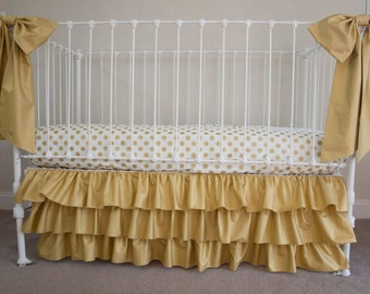Classic Metallic Gold Dots and White  Bumperless  Baby Girl Crib Cot Bedding