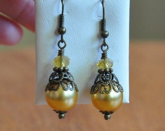 Golden drops of Sunshine earrings, fall gift, 1920's style earrings, beaded earrings, gift for her, special occasion, Quincerara, prom