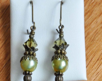 Earrings-Antique brass pearl Earrings2Colors- Peachy pink glass pearls  Swarovski crystals- Olive glass pearls & olivine Swaroviski crystals