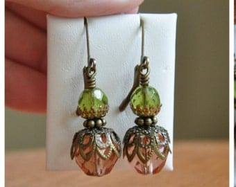 Earrings- Lantern Earrings- Dangle drop earrings- pink and green with antique brass bead caps- perfect gift for a wedding-lever backs