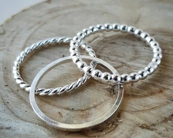 Texture set of 3 stacking rings sterling silver handcradted