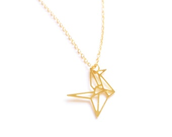 CARNE BIRD ORIGAMI Necklace, bird necklace, geometric bird carne, origami bird pendant, gold bird, Origami bird, Origami Pendant, gift, N049