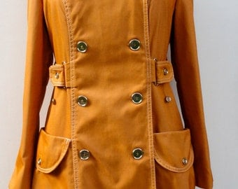 1960 Women's Trench Coat, Vintage Kirsti Made in Finland YellowGoldOrange Mod Midi OuterWear 38, 60s Mid Century Modern Double Breasted Coat