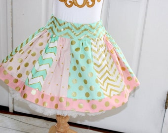 Mint pink gold skirt Girls pink mint green gold chevron and polka dot skirt for for little girl birthday back to school family pictures