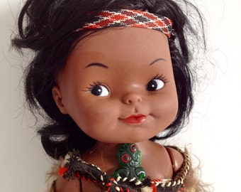 Vintage Maori Doll from NZ, New Zealand Souvenir, Kiwiana